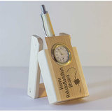 Personalized Laser Engraved Wooden Folding Pen Stand With Analog Clock