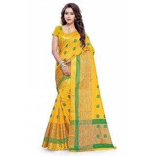 Satyam Weaves Yellow Polycotton Self Design Saree With Blouse