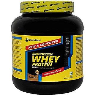 MuscleBlaze 100% Whey Protein - 2.2 lb/1 kg 30 Servings (Caf Mocha)