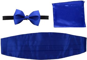 Combo of Royal Blue Bow Tie Cummerbund  Pocket Square for Wedding Party Formal Gift