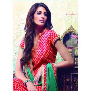 IndiWeaves Designer  Red colour cotton suit and stylish chiffon dupatta 2492-IW