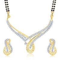 Sukkhi Fabulous Gold & Rhodium Plated Cubic Zirconia Studded Mangalsutra Set