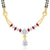 Sukkhi Marquise Gold  Rhodium Plated Cubic Zirconia  Ruby Mangalsutra Pendant