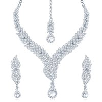 Sukkhi Silver Alloy Silver Plated Necklace Set For Women