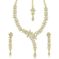 Sukkhi Fancy Gold Plated Australian Diamond Stone Studded Necklace Set