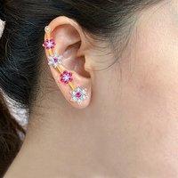 Sukkhi Delightful Gold  Rhodium Plated Cubic Zirconia  Ruby Studded Ear cuff
