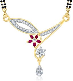 Sukkhi Wavy Gold  Rhodium Plated Cubic Zirconia  Ruby Mangalsutra Pendant