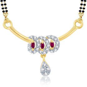 Sukkhi Shimmering Gold  Rhodium Plated Cubic Zirconia  Ruby Mangalsutra Pendant