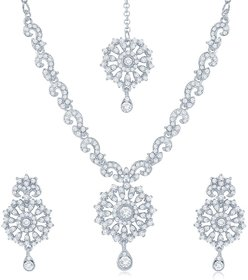 Sukkhi Gold Plated Golden  Silver Necklace Set For Women