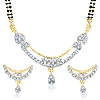 Sukkhi Classy Gold and Rhodium Plated Cubic Zirconia Stone Studded Mangalsutra Set
