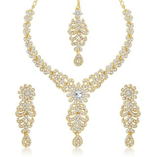 Sukkhi Gleaming Gold Plated Australian Diamond Stone Studded Necklace Set