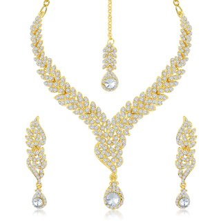 Sukkhi Fine Gold Plated Australian Diamond Stone Studded Necklace Set