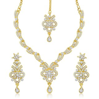 Sukkhi Intricately Gold Plated Australian Diamond Stone Studded Necklace Set