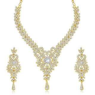 Sukkhi Exquitely Gold Plated Australian Diamond Stone Studded Necklace Set