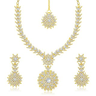Sukkhi Gracefull Gold Plated Australian Diamond Stone Studded Necklace Set