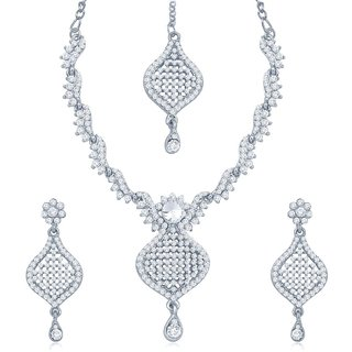 Sukkhi Sleek Rhodium Plated Australian Diamond Stone Studded Necklace Set