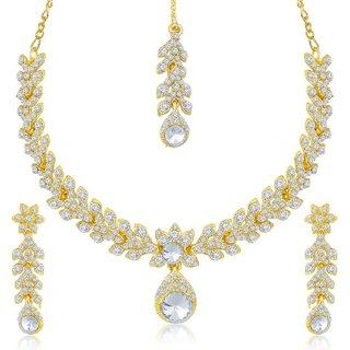 Sukkhi Lavish Gold Plated Australian Diamond Stone Studded Necklace Set