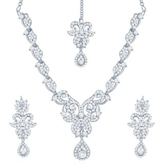 Sukkhi Moddish Rhodium Plated Australian Diamond Stone Studded Necklace Set