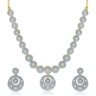 Sukkhi Classy Gold  Rhodium Plated Australian Diamond Studded Necklace Set