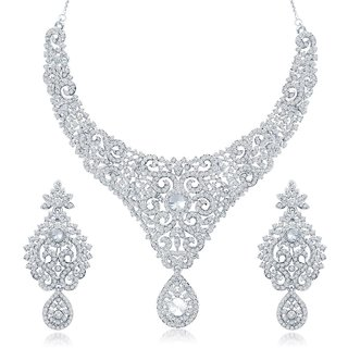 Sukkhi Bewitching Gold  Rhodium Plated Australian Diamond Studded Necklace Set