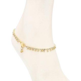Sukkhi Splendid Gold Plated Australian Diamond Stone Studded Anklet