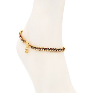 Sukkhi Fine Gold Plated Australian Diamond Stone Studded Anklet