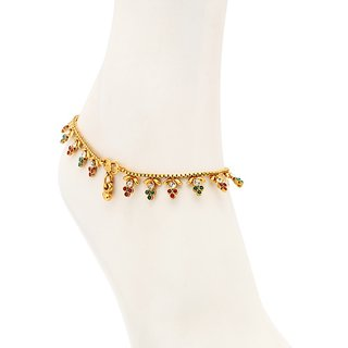 Sukkhi Alluring Gold Plated Australian Diamond Stone Studded Anklet
