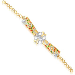 Sukkhi Traditionally Gold and Rhodium Plated Cubic Zirconia Stone Studded Bracelet
