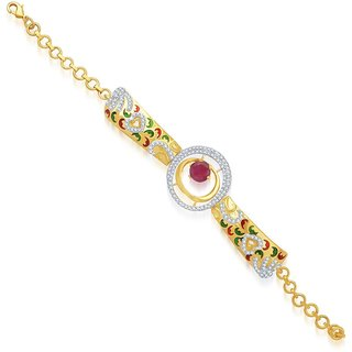 Sukkhi Beguiling Gold and Rhodium Plated Cubic Zirconia Stone Studded Bracelet