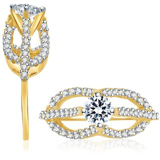 Sukkhi Pleasing Gold & Rhodium Plated Cubic Zirconia Studded Solitaire Ring