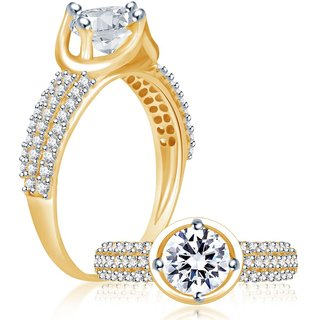 Sukkhi Delightful Gold & Rhodium Plated Cubic Zirconia Studded Solitaire Ring