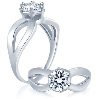 Sukkhi Modern Rhodium Plated Cubic Zirconia Stone Studded Solitaire Ring