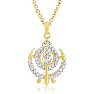 Sukkhi Stunning Gold and Rhodium Plated Cubic Zirconia Stone Studded God Pendant