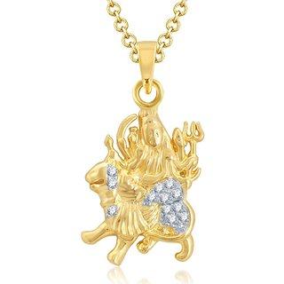 Sukkhi Sparkling Gold and Rhodium Plated Cubic Zirconia Stone Studded God Pendant
