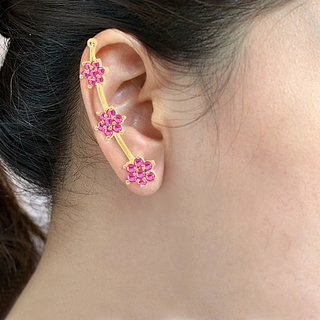 Sukkhi Graceful Gold  Rhodium Plated Cubic Zirconia  Ruby Studded Ear cuff