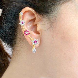Sukkhi Modern Gold  Rhodium Plated Cubic Zirconia  Ruby Studded Ear cuff