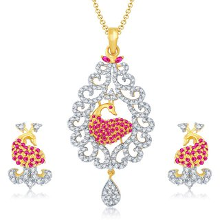 Sukkhi Excellent Gold  Rhodium Plated Cubic Zirconia  Ruby Studded Pendant Set