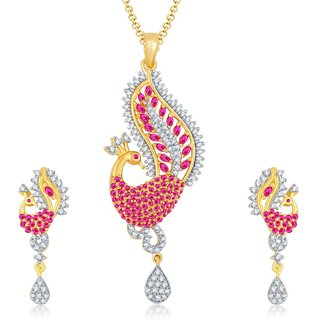 Sukkhi Angelic Gold  Rhodium Plated Cubic Zirconia  Ruby Studded Pendant Set