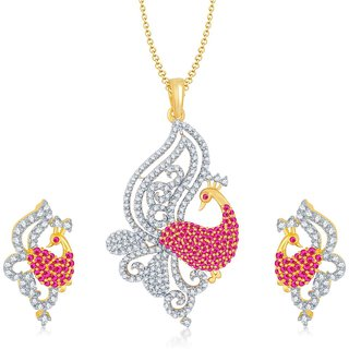 Sukkhi Gorgeous Gold  Rhodium Plated Cubic Zirconia  Ruby Studded Pendant Set