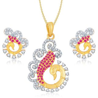 Sukkhi Sparkling Gold  Rhodium Plated Cubic Zirconia  Ruby Studded Pendant Set