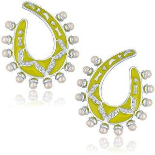 Sukkhi Blossomy Gold Plated Australian Diamond Stone Studded Neon Coloured Earring