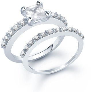 Sukkhi Finely Rhodium Plated Cubic Zirconia Stone Studded Solitaire Ring