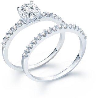 Sukkhi Designer Rhodium Plated Cubic Zirconia Stone Studded Solitaire Ring