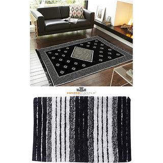 Home Castle Premium Chenille Cotton Carpet + 1 Free Premium Doormat ( CB-CPT-17)