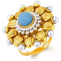 Sukkhi Incredible Gold Plated Ring With AD and White Pearls