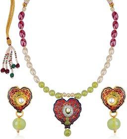 Sukkhi Gleaming Meenakari Pendant Set With Multi-Coloured Pearls Mala