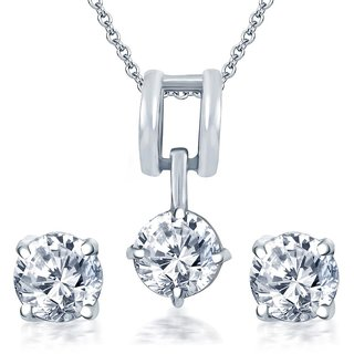 Sukkhi Alloy Delightful Rhodium Plated Solitaire CZ Pendant With Chain & Earrings