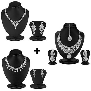 Sukkhi Rhodium Plated White 3 Piece Necklace Set combo For Women-