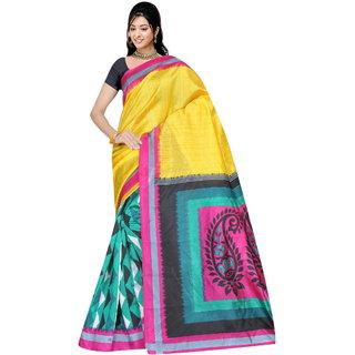 Varanga Multicolor Bhagalpuri Silk Printed Saree with Unstitched Blouse KF-BGPSR108