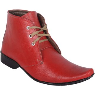 Austrich Men's Red Lace-up Formal Shoes